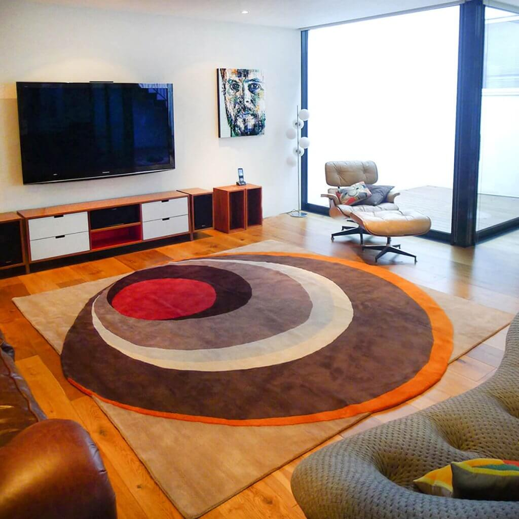 Contemporary Living Room Rug - Mid Century Modern