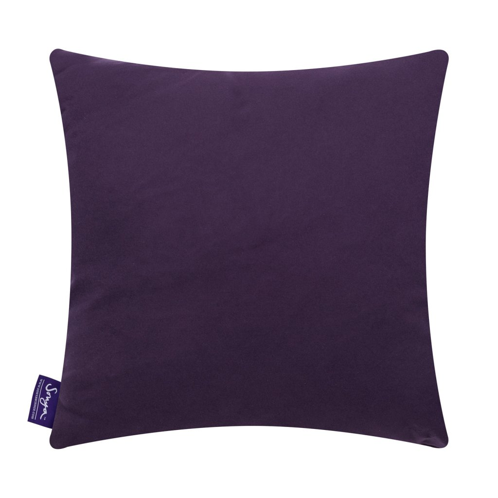 A cropped detail image of the bright, modern Sonya Winner After Matisse square cushion, showcasing the signature purple cushion back