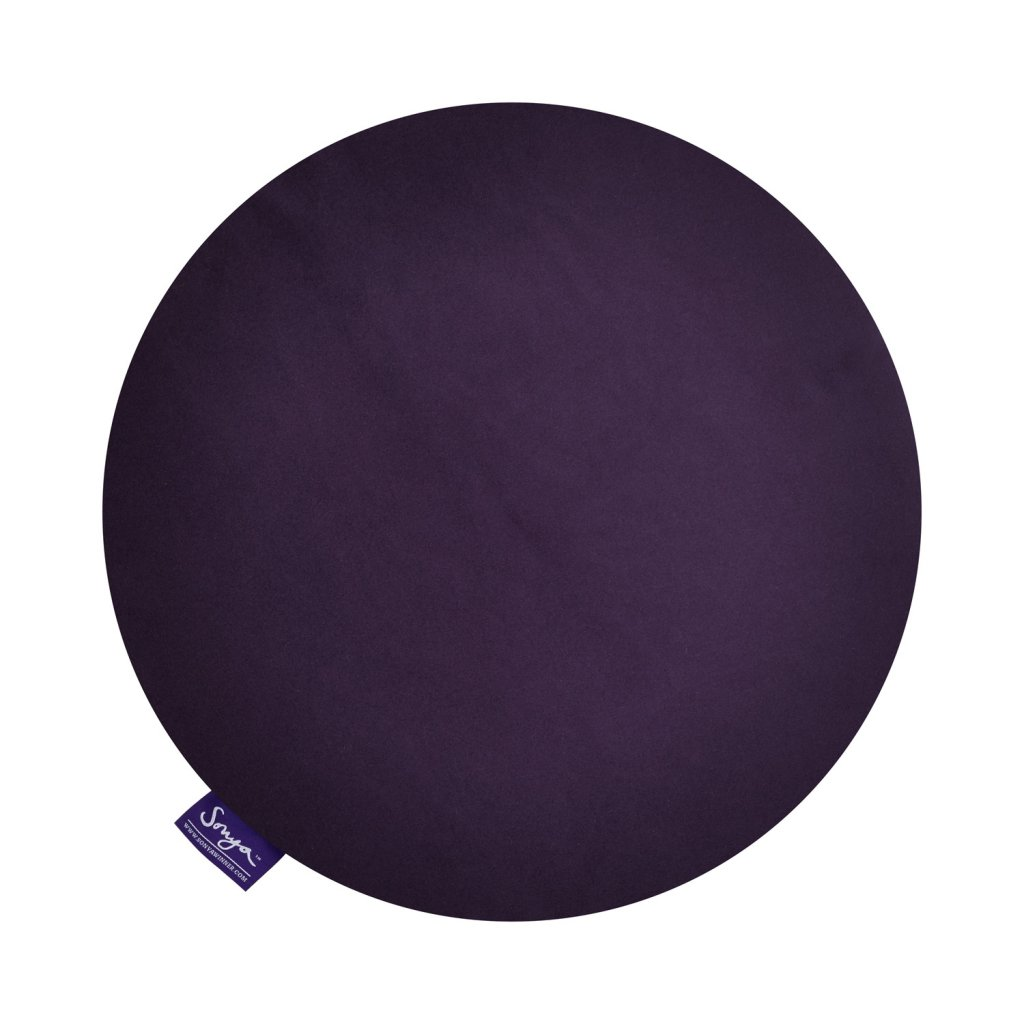 A cropped detail image of the Sonya Winner Jellybean Coconut grey cushion, displaying the purple cushion back