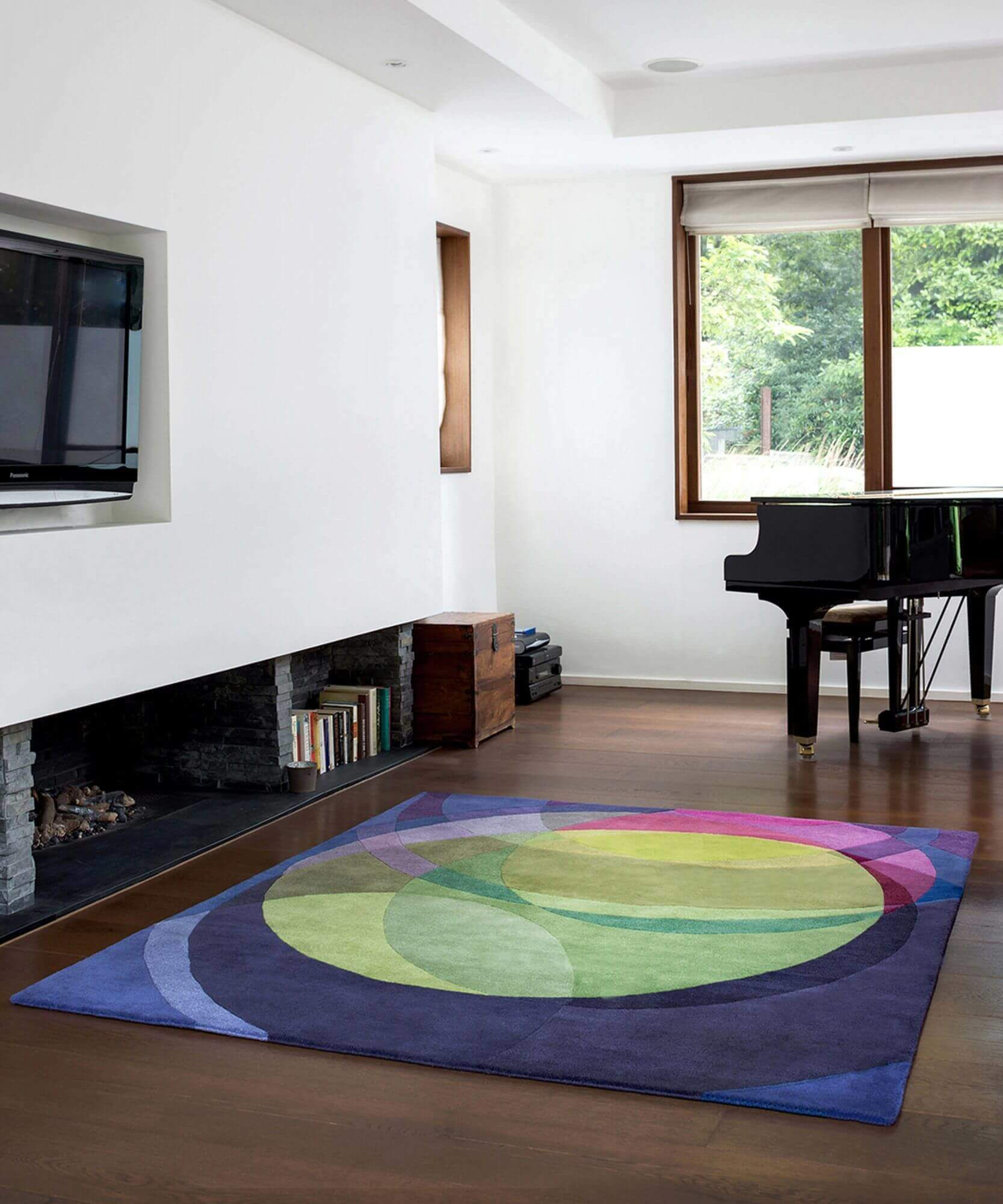 Sonya Winner's Galaxy abstract carpet for sale, shown in a large contemporary living room with Bosendorfer piano and Ortal fireplace