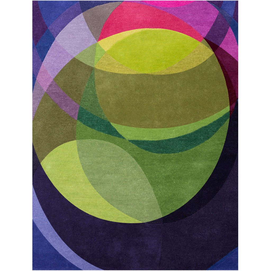 A copped detail image of Sonya Winner Galaxy carpet for sale, showcasing the abstract pattern, the cool mix of green, blue and purple colours and the very modern feel of the rug