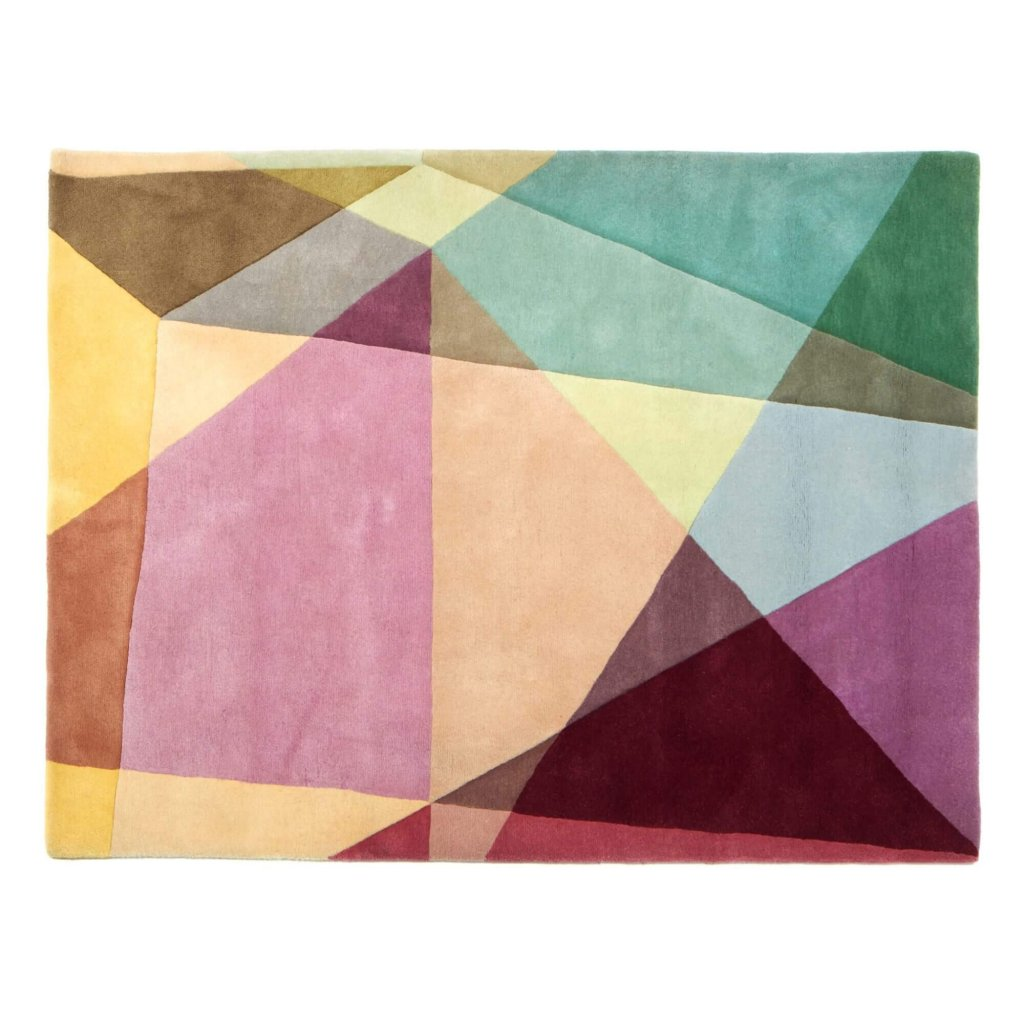 A detail image of Sonya Winner Prism Pastels Rectangle handmade rugs for sale, showcasing the unusual geometric pattern, the mix of pastel colours and the elegant rug design