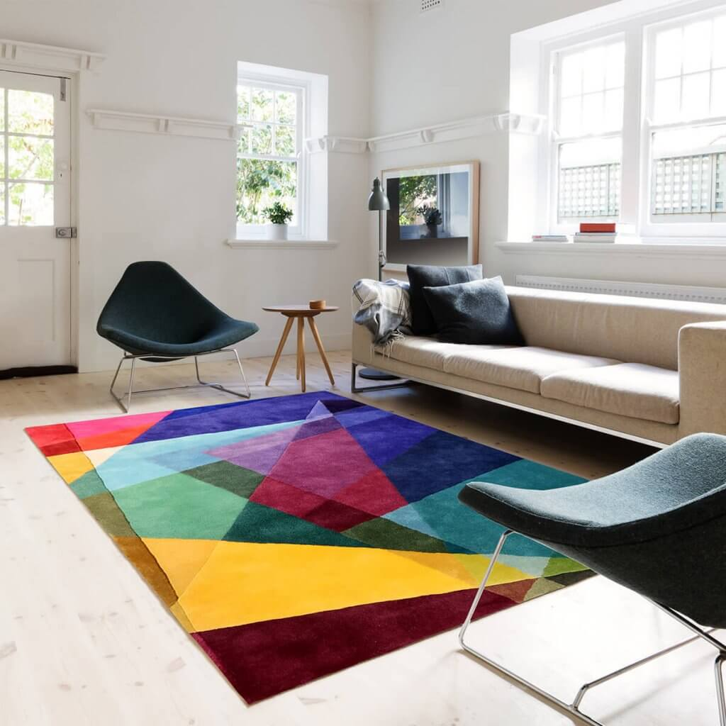 Contemporary Designer Colourful Geometric Rug