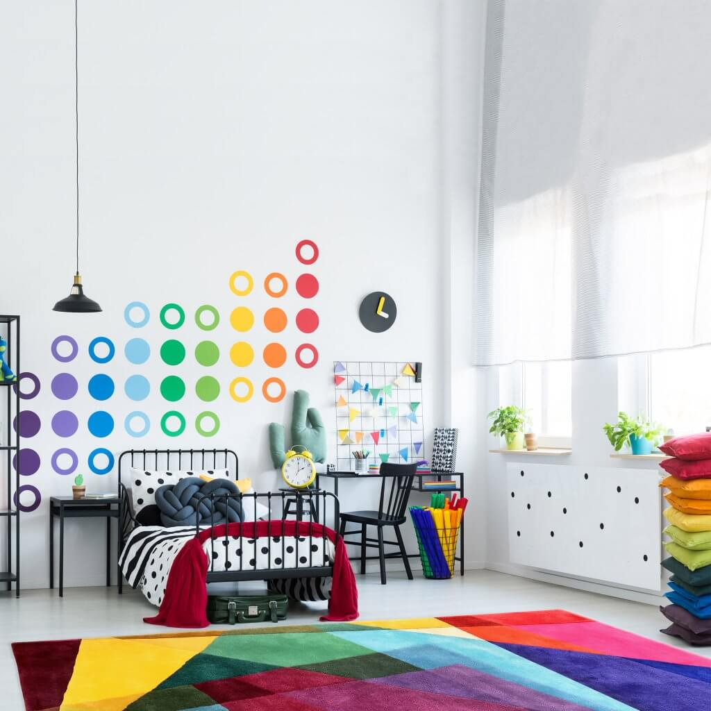 Modern Designer Colourful Kids Rug - Kaleidoscope