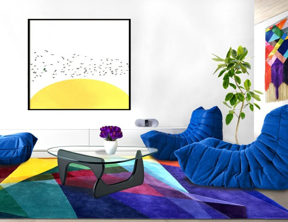 Blue Togo Sofa by Ligne Roset with Kaleidoscope Rug by Sonya Winner