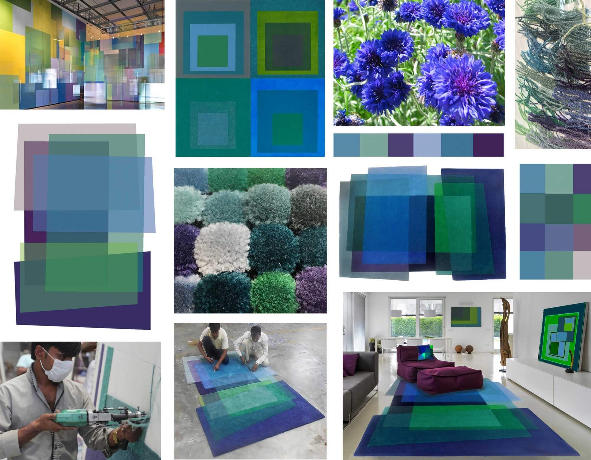 Art Inspired Rug - After Albers Cornflower