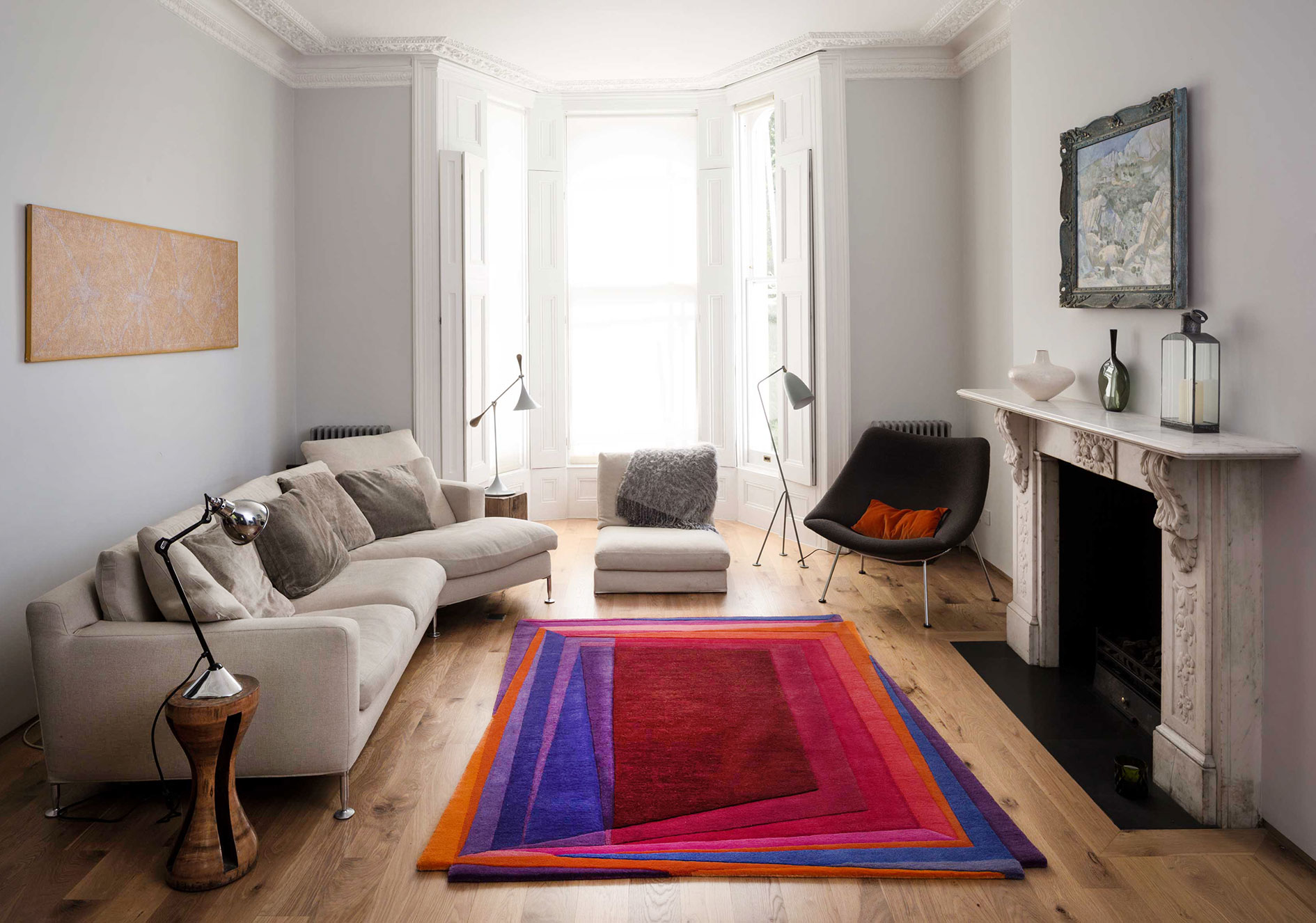 Contemporary Red Rug Handmade in Wool