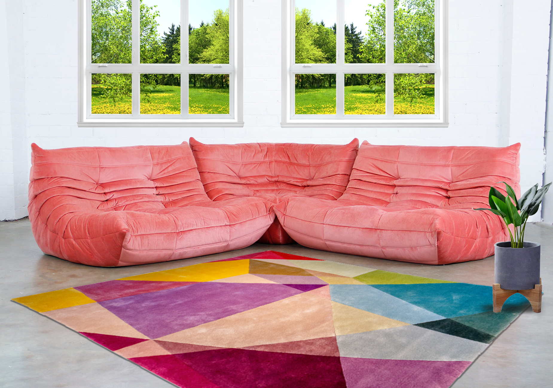 Pink Togo Sofa by Ligne Roset With Contemporary Rug by Sonya Winner