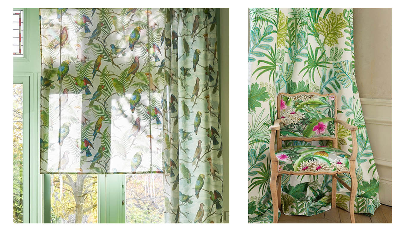 Curtains and Blind: Parrot and Palm Azure fabric by Designers Guild. Chair Ibiza fabric and Curtain Tara Fabric both by Manuel Canovas
